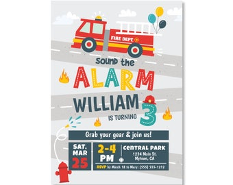 Printed Invitations - Fire Truck