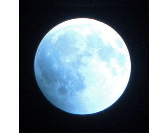 Glowing Moon, Ice Blue Moon, Full Moon in a Dark Night Sky. Signed Photo Art for Him.