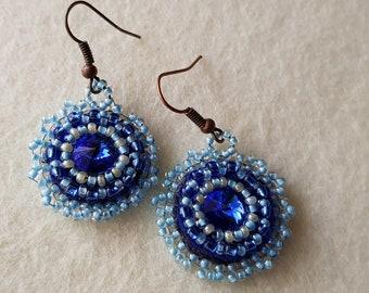 Rivoli swarovski bead embroidered earrings blue