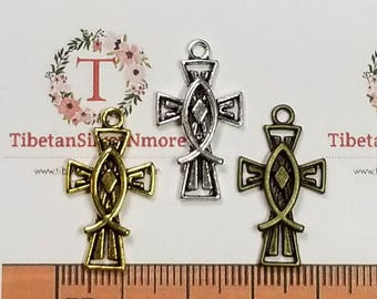 16 pcs per pack 22x14mm Fish cut out Cross Charm Antique Silver, Gold or Bronze Finish Lead Free Pewter