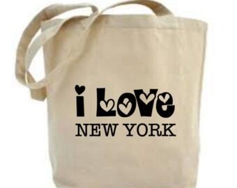 I Love New York Tote Bag, New York Tote Bag, Choose Any City, Project Bag, Craft Bag, Quote Shopping Bag.