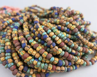 6/0 Cobalt Canyon Aged Bead Mix, Full Strand 200 Beads, 4mm Czech Glass Seed Beads, AGM1260
