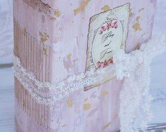Blush Fairytale Wedding Guest Book, Gold, Photo album, Shabby Chic Wedding, Custom Wedding Photo Booth album