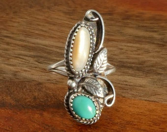 Sterling Silver Turquoise and Mother of Pearl Ring, Size 6