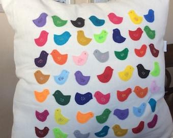 Rainbow Bird Pillow Cover, Multi Colored Bird Pillow, Felt Appliqued Decorative Pillow, Living Room Accent Pillow, Bird Toss Pillow,