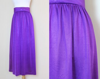 Purple Maxi Skirt / Vintage High Waisted Skirt