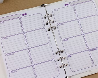 Undated planner inserts A5, weekly planner inserts, week ok two pages planner, english printed inserts