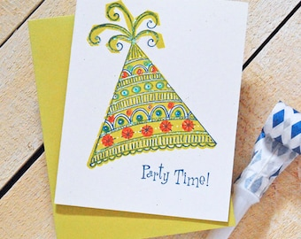 Party Hat Letterpress Birthday Card