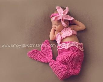 Pink Newborn Mermaid Halloween Costume, 0 to 3 Month Mermaid baby Photo Prop,