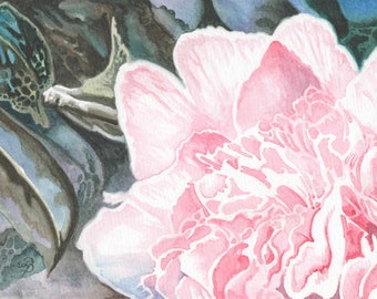 Camellia, ORIGINAL watercolor painting, FREE shipping