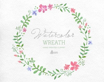 Watercolour Wreath Clipart. Hand painted floral frame, wedding diy elements, flowers, invite, country wreath, blossom, spring, wildflowers