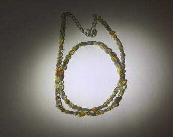 A Handmade Multi-Colored Flash Ethiopian Opal Beaded Necklace