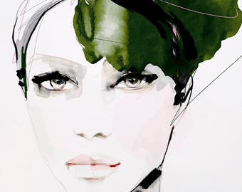 Fashion Illustration Art Print, Portrait, Mixed Media Painting by Leigh Viner - Soft Rapture