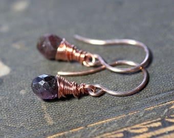 Dark Burgundy Pink Tourmaline Earrings Gemstone Earrings Faceted Briolette Rose Gold Rustic Jewelry