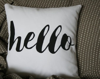Hello Pillow, Decorative Throw Pillow, Pick Your Color, Custom, 16x16 Pillow, House Warming Gift/ New House Gift/ Hello Pillow/ Word Pillow