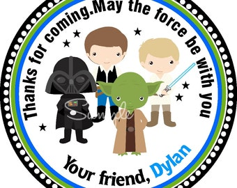 Star Wars Stickers, Personalized labels, Star Wars Birthday Party --Set of 12