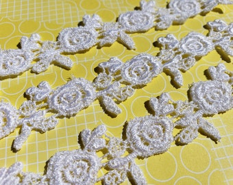 """White Venice Lace - Rose and Leaf Pattern - Sewing Venise Trim - 1"""" Wide"""