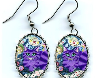 Cheshire Cat Earrings Alice in Wonderland Cat Art Cameo Earrings 25x18mm Gift for Cat Lovers Jewelry