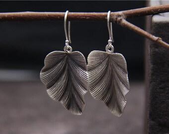 S925 sterling silver leaf earrings