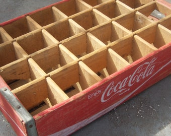 Coca Cola Wooden Divided Crate 24 Compartments Repurpose