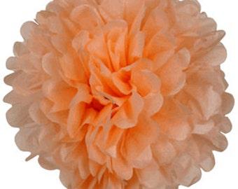 Creamy Peach Tissue Pom Poms 4, 6 or 8 inch Set of 2 /Weddings/Showers/Birthdays/Parties