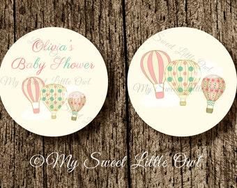 Hot air balloon Cupcake Topper - balloon Baby Shower - balloon printable - balloon sticker - hot air balloon tag - balloon label
