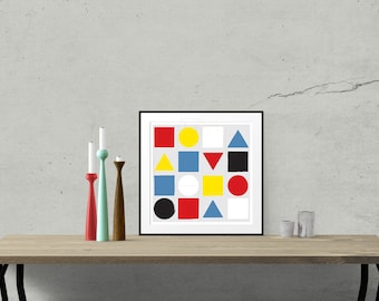Primary - Mid Century Art Print Original design shapes colours size bauhaus modernist Mondrian minimalist 15.7x15.7