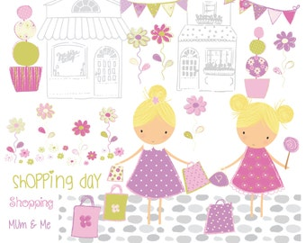 Shopping day, mum and me, digital clipart and paper set
