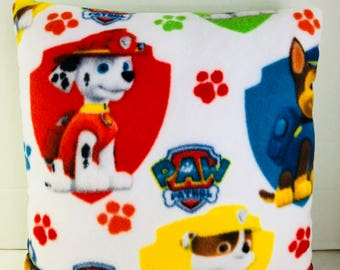 Red & White Paw Patrol Themed Embroidered Reversible Accent Pillow