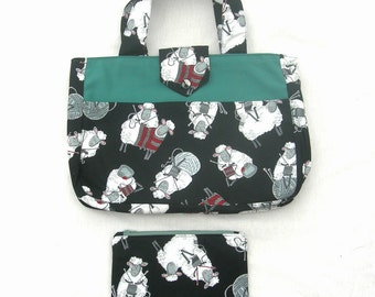 Sheep fabric knitting bag with matching zippered pouch