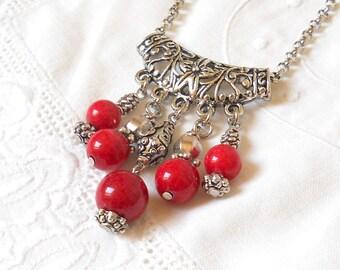 gypsy necklace bohemian necklace boho necklace red necklace gemstone necklace stone jewelry bohemian jewelry red jewelry red jade necklace M