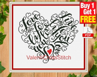 Love Cross Stitch Pattern, Live, Life, counted cross stitch,monochrome, instant download, #sp 205