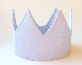 Chambray birthday crown birthday party hat party supplies party decorations first birthday hat first birthday outfit 1st birthday crown