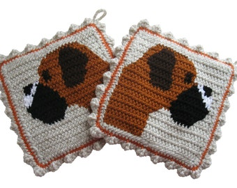 Boxer Dog Pot Holders. Thick. crochet potholders featuring fawn boxers. Boxer gift