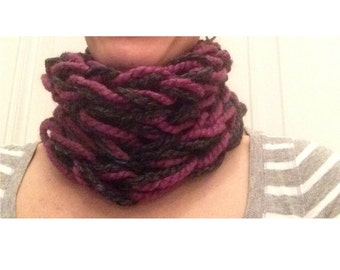 Handmade. Cowl Scarf. Arm Knitting Yarn. Lion Brand Yarn. Charcoal & Mauve. Fall Scarf. Winter Scarf. Wool Scarf. Gifts For Her Under 30.