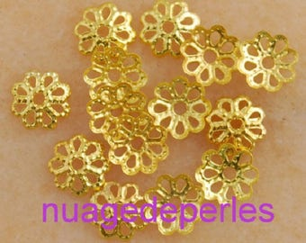 40 cups engraved filigree spacers beads