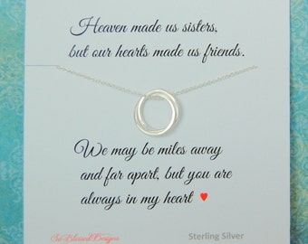 SISTER Necklace, Sister Jewelry, Sterling silver rings for sister, Sister POEM, Sister Birthday gift, eternity circles, miss you sister