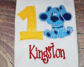 Personalized Blue's Clues with Number Boysuit - T-shirt - Newborn - Infant - Toddler - Birthday