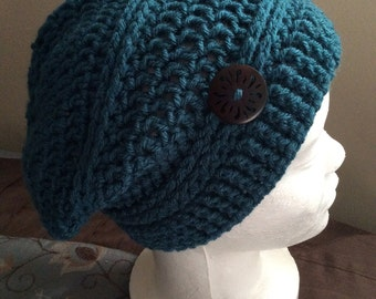 Slouchy Hats, Crochet Slouch Hat Beanie Antique Teal, Skull Caps and Beanies, Womens Beanie, Men Beanie,  Crocheted Beanie, Knit Beanie,