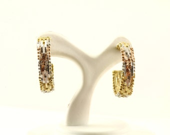 Vintage Three Tone Herringbone Design Hoop Earrings 925 Sterling ER 659