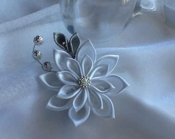 Hair Clip - White Silver Kanzashi Flower - Wedding Flowers Bridal Headpieces Hair Accessories