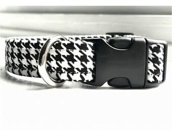 Dog collar, houndstooth dog collar, black and white collar, metal buckle collar, plastic collar, adjustable dog collar, white dog collar
