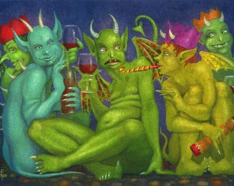 Original art: 'Green Monsters in Party Hats' - painting by Nancy Farmer (unframed)
