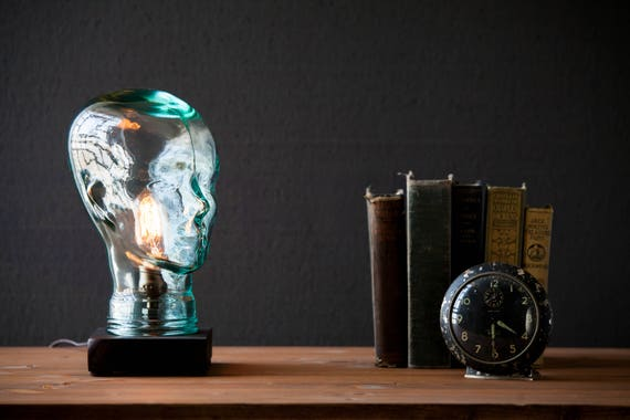 Glass head Lamp - Steampunk Lamp - Table Lamp - Edison Light - Vintage Light - Pipe Lamp - Bedside Lamp - Rustic Lighting - Loft light