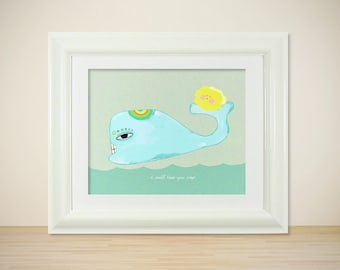 Keep You Safe // Illustration Print, Modern Art Poster, Nursery Art, Baby's Room, Kids, Whales, Ocean, I Love You, Digital Print, Giclee