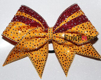 Two color Covered Rhinestone  Swoop Cheer Bow  by FunBows !