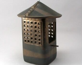 Bird Feeder-Hand Built Pottery-Ceramic Bird Feeder-Bird-Garden-Home and Garden-Brown-Metallic Bronze Glaze