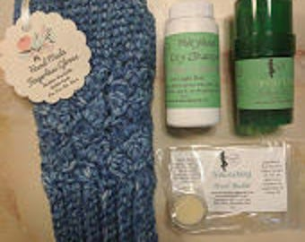 Warm & Cozy- Fingerless Gloves, Dry Shampoo, Lotion Bar and Heel Balm Gift Set