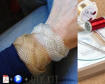 Braided bracelet DIY KIT - Crochet bracelet pattern - DIY jewelry kit - Wire Crochet bracelet Kit - Unique teacher gifts