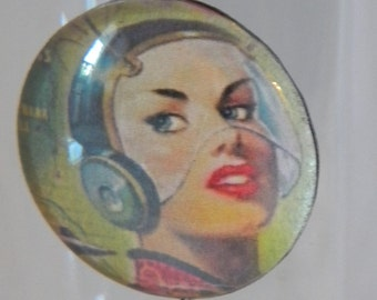 Sci Fi Pin Up Necklace, Kitsch,